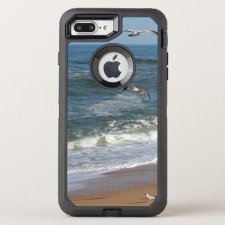 Waves Gently Rolling onto a Beach as Seagulls Soar OtterBox Defender iPhone 8 Plus/7 Plus Case