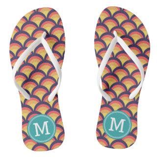 Waves Geometric Pattern Personalize Monogram Flip Flops