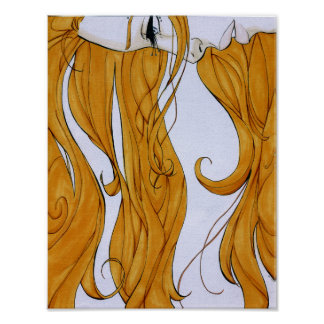 Waves - Girl with long amber hair Poster