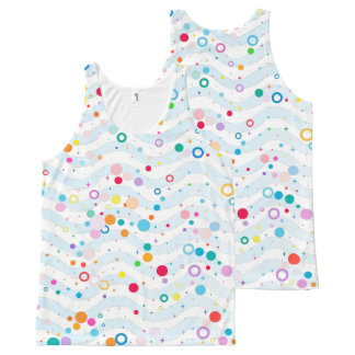 Waves -happy dots- Custom Your Color- All-Over-Print Tank Top