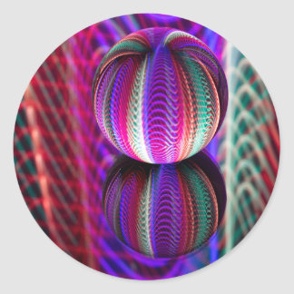 Waves in crystal ball classic round sticker