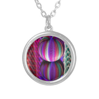 Waves in crystal ball silver plated necklace