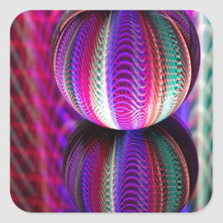 Waves in crystal ball square sticker