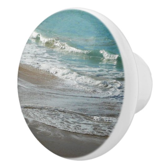 Waves Lapping on the Beach Turquoise Blue Ocean Ceramic Knob