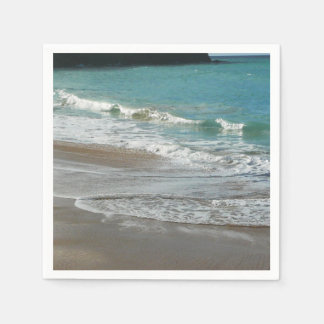 Waves Lapping on the Beach Turquoise Blue Ocean Paper Napkin