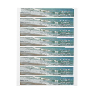 Waves Lapping on the Beach Turquoise Blue Ocean Wrap Around Label