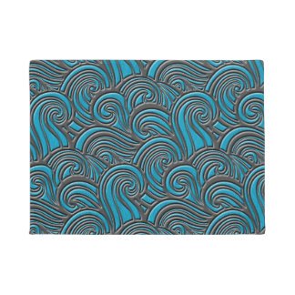 Waves Leather Pattern Blue and Gray Doormat