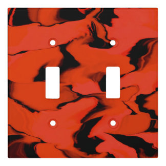 Waves of Black and Red Light Switch Cover