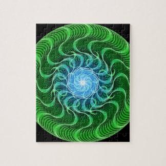 Waves of Green Mandala Puzzles