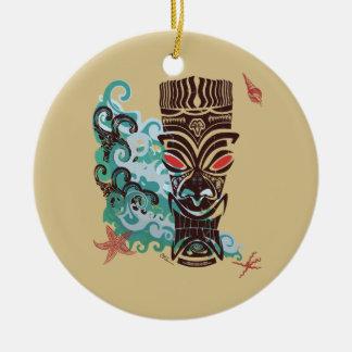 Waves of TIki Ceramic Ornament