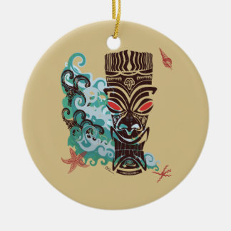 Waves of TIki Round Ceramic Ornament