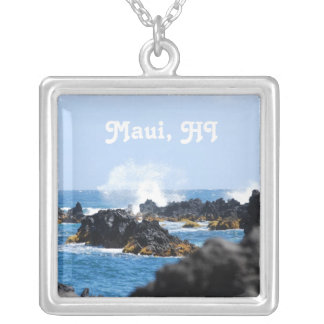 Waves on Maui Coast Silver Plated Necklace