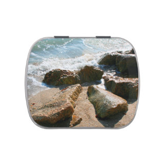 waves on rocks on beach shore image