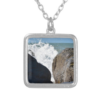 WAVES ON ROCKS QUEENSLAND AUSTRALIA SILVER PLATED NECKLACE