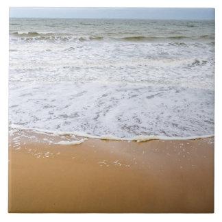 Waves on the beach ceramic photo tile