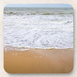 Waves on the beach hard plastic coasters