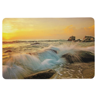 WAVES & ROCKS Sunset Seascape Floor Mat