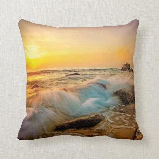 WAVES & ROCKS Sunset Seascape Throw Pillow