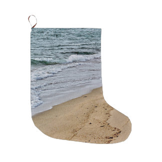 Waves rolling onto the shore large christmas stocking