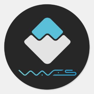 WAVES Round Sticker (Dark)