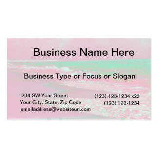 waves solarized magenta green beach abstract business card templates