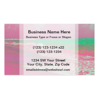waves solarized magenta green beach abstract business cards