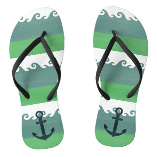 Waves & Stripes With Anchor Nautical Flip Flops
