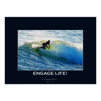 Waves Surfboard-rider Surfing Motivational Art Poster