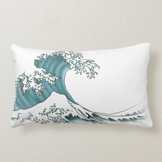 Waves - white lumbar pillow