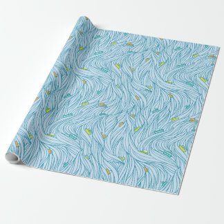 Waves with boats wrapping paper