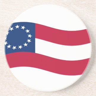 Waving 1st Confederate Flag And Name Coaster