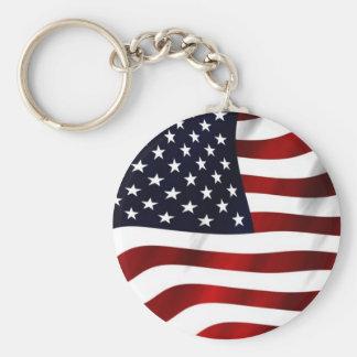 Waving American Flag Basic Round Button Keychain
