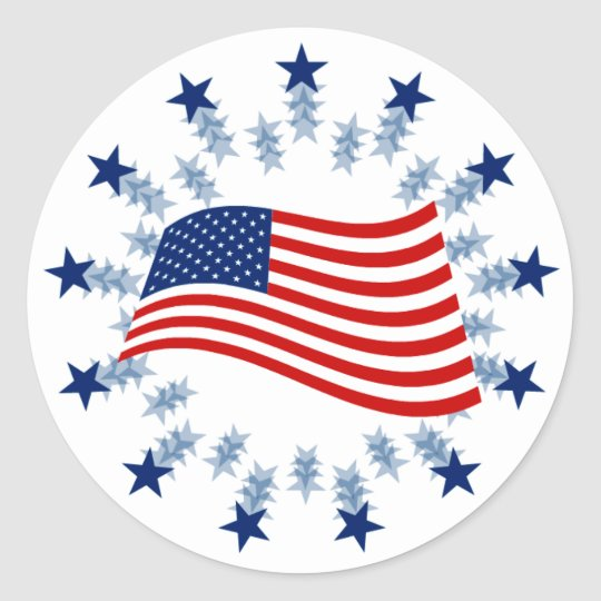 WAVING AMERICAN FLAG CLASSIC ROUND STICKER
