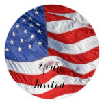 Waving American Flag Patriotic Invites