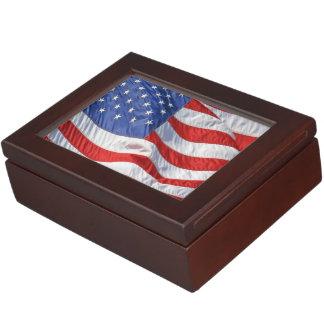 Waving American Flag Patriotic Keepsake Boxes
