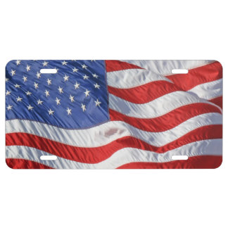 Waving American Flag Patriotic License Plate