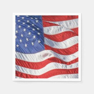 Waving American Flag Patriotic Paper Napkins