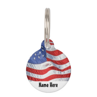 Waving American Flag Patriotic Pet Name Tag