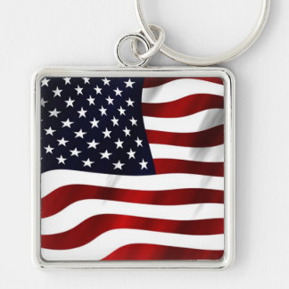 Waving American Flag Silver-Colored Square Keychain