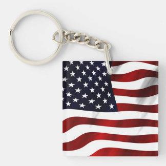 Waving American Flag Single-Sided Square Acrylic Keychain