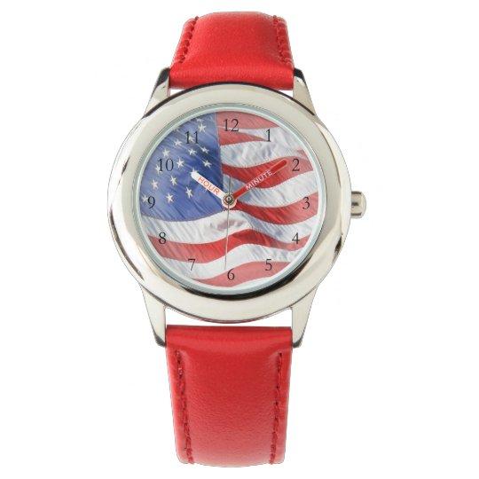 Waving American Flag Wrist Watches