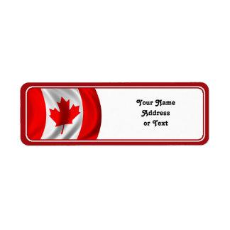 Waving Canadian Flag Return Address Label