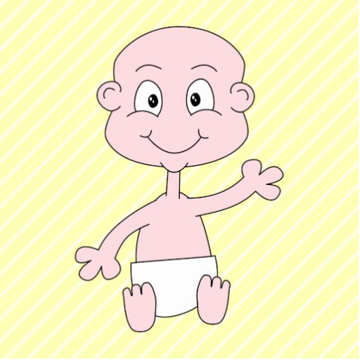 Waving Cute Baby, on yellow stripes. Custom Photo Cut Outs
