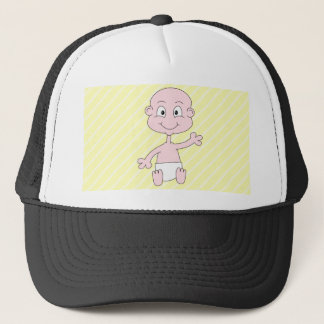 Waving Cute on yellow stripes. Custom Trucker Hat