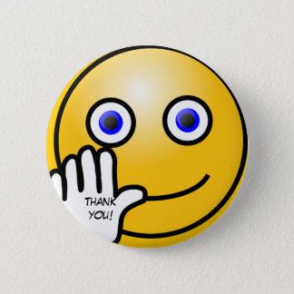 Waving emoticon thank you! 2 inch round button