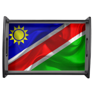 Waving fabric national flag of Namibia Serving Tray
