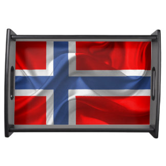 Waving fabric national flag of Norway Serving Tray