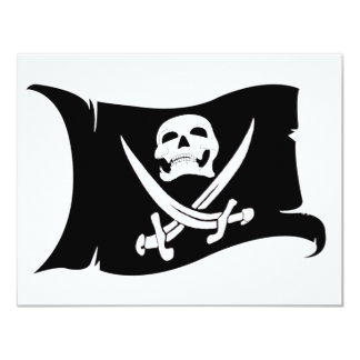 Waving Flag-Pirate Icon #10 4.25x5.5 Paper Invitation Card