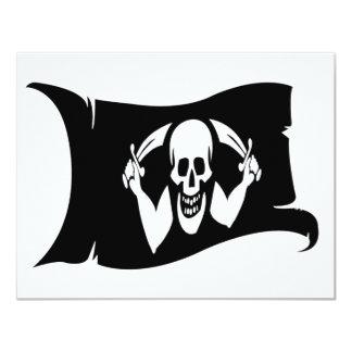 "Waving Flag-Pirate Icon #2 4.25"" X 5.5"" Invitation Card"