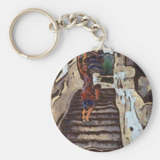 Waving from the steps basic round button keychain